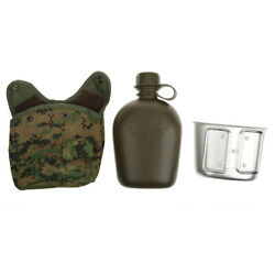 1l Outdoor Camouflage Army  Canteen Hydration Water Bottle And Pouch / Cup