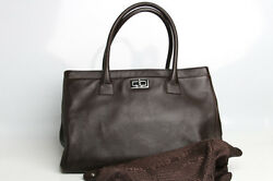 Authentic Calfskin Cerf Shopper Tote Bag Purse A29293 Y03790 Coffee Brown