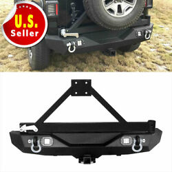 Rear Bumper WTire Carrier + 2X 20W LED Lights + D-Ring For Jeep 2007-2018 JK
