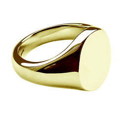 18ct Yellow Gold Oval Signet Rings New 14x12mm Solid Uk Hallmarked Heavy Bespoke