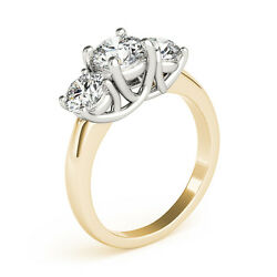 3.00ct Forever One Moissanite 3-stone Trellis Ring Two Tone Gold Candc Certified