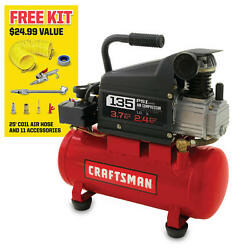 Craftsman 3 Gallon 1.0 HP Oil-Lubricated Air Compressor & 11 Piece Accessory Kit