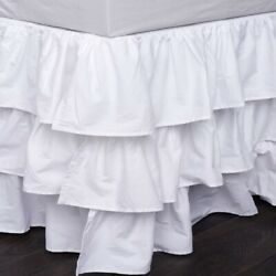 Open Corner White Solid Multi Ruffle Bed Skirt 800 Tc Cotton Us Bed Size Drop