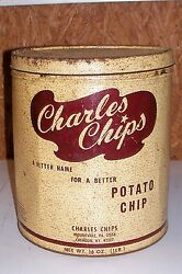 """Old Charles Chips Potato Chip Tin Box Container Kitchen Ad Advertising Large 10"""""""