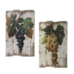 Grapes Wooden Wall Decor 2pc Wooden Plaques Vineyard French / Italian Bistro
