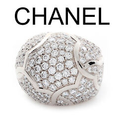 Chanel Diamond Pave 18K White Gold Dome Ring