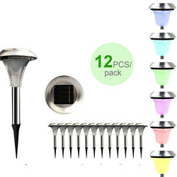 12 Pack Outdoor Stainless Steel Led Solar Power Light Color Changing Lamp Usa
