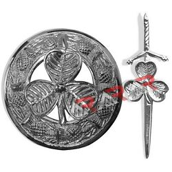 Shamrock Kilt Pin and Brooch Set Badge Fly Plaid High Quality Chrome End AAR New