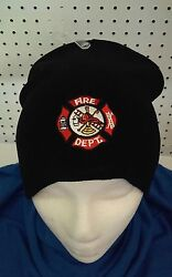 Fire Dept Black Beanie  One Size Fits All