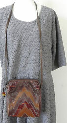 Women's Sharif Cross Body Bag Small Patched Leather Design . Brown  Multicolor