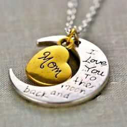 I Love You To The Moon amp; Back Mom Necklace amp; Pendant Mothers Day Valentines Gift