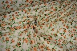Quilt Fabric Orange Green Flowers Print Craft Apparel Clothing 45quot;W #114
