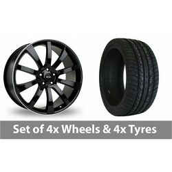 4 X 22 Riva Suv Black Polished Alloy Wheel Rims And Tyres - 265/30/22