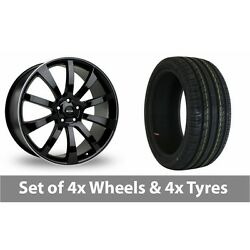 4 X 18 Riva Suv Black Polished Alloy Wheel Rims And Tyres - 245/50/18