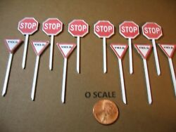 O Scale Set Of 6 @ Street Stop And Yield Signs, Custom-made, New