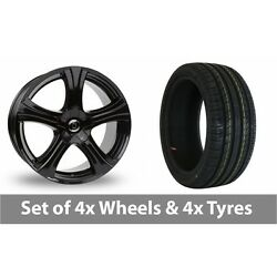 4 X 18 Diewe Barba Gloss Black Alloy Wheel Rims And Tyres - 205/45/18