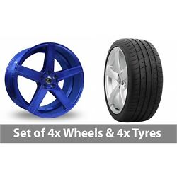 4 X 20 Diewe Cavo Blue Alloy Wheel Rims And Tyres - 265/30/20