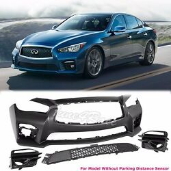 For 14-up Infiniti Q50 Front Bumper Cover Red Sport 400 Eau No Pdc Jdm Style Adn
