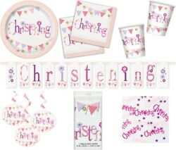 Girl Pink Christening Tableware Party Accessories Decorations White Purple Lilac
