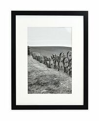 Wall Frame Collection12x16 Photo Wood Frame With White Mat And Real Glassblack