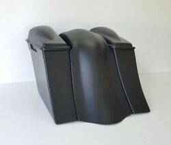 Slope 6 Saddlebags Smooth Overlay Fender 6.5 2 Lids No Exhaust Cutout Harley