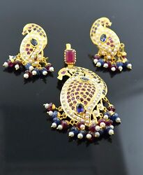 22k Solid Gold Natural Ruby Blue Sapphire Pearl Pendant Set Earrings S73 Peacock