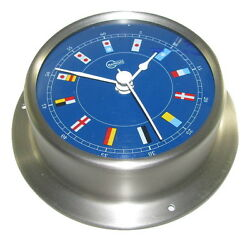 Victory Ba683.3rf 3-3/8 Brushed Stainless Steel Shipand039s Clock Blue Face 135-929