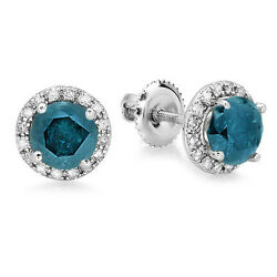 2.00 Ct 14k White Gold Round Blue And White Diamond Ladies Halo Stud Earrings