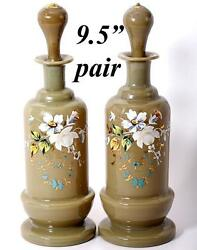 Antique Pair 2 French Opaline Decanters 9.5 Tall Enameled Floral On Tan