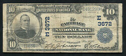1902 10 The Carthage National Bank Carthage, Ny National Currency Ch. 3672