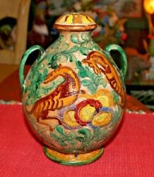 Antique Majolica Pottery Double Handle Vase Urn Painted Horses Flowers