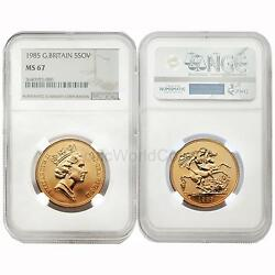 Great Britain 1985 5 Sovereign Gold Ngc Ms67