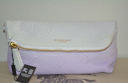 NWT BURBERRY PRORSUM $1695 WOMENS CHECK PETAL LEATHER PURSE CLUTCH BAG ITALY