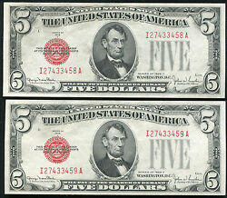 2 Consecutive 1928-f 5 Red Seal Legal Tender United States Notes Unc
