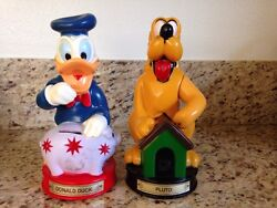 Vintage Disney Donald Duck And Pluto Piggy Banks In Good Condition