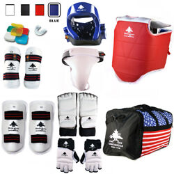 Cmplete Taekwondo Vinyl Sparring Gear Set With Shin Hand And Foot Guard