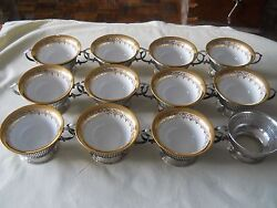 Birks Sterling Silver Set Of 12, Ramekins, Soup Cup Holder With Dresden Cups