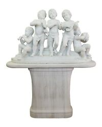 An Italian White Marble Carved Group of Young Bacchic Musicians Circa 1890