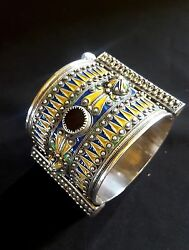 Morocco - Amazigh Berber Weeding Bracelet In Silver With Enamels And Glass Beads