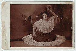 Unusual Cabinet Photo Woman Doing Split- 1880 Dancer Actress Theater Hornell Ny