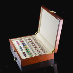 Antique Large Wooden Box Case Ring Earring Jewelry Display Storage Organizer