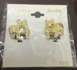 Vintage Clip On Fashion Earrings- Gold Toned Bulldogs