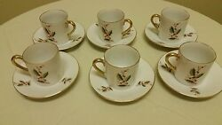 Vintage Japan Inarco Holly Berry Demitasse Cup/saucer E-891 Gold Trim Set Of 6