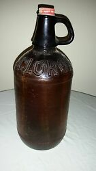 Vintage 1/2 Gal Clorox Bleach Amber Brown Glass Bottle Jug With White/red Cap