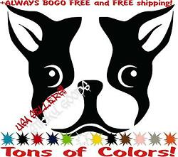 2 - Boston Terrier Cute Dog Face Vinyl Decal Sticker Car Window laptop Anywhere