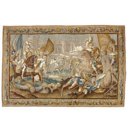 A Very Fine 17th Century Flemish WoolSilk Tapestry Titled Battle in Jerusalem