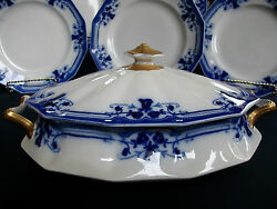 Johnson Brothers Royston-flow Blue C1910 Covered Serving Bowl-excellent Beauty
