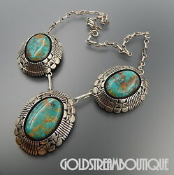 Tom Lewis Navajo 925 Silver Stunning Green American Turquoise Heavy Necklace