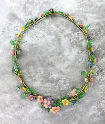 Ladies Antique 1880s Handcrafted Glass Beaded Jeweled Flower Floral Necklace