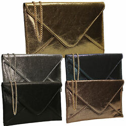 Women Mill Metallic Leather Shiny Ros Ladies Evening Party Prom Smart Clutch Bag